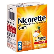 Nicorette Nicotine Gum, 2 mg, Fruit Chill 100 pieces