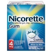 Nicorette Gum, 4mg Coated, White Ice Mint  100 pieces